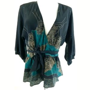 Maple Anthropologie Cerulean Rising Wrap Top